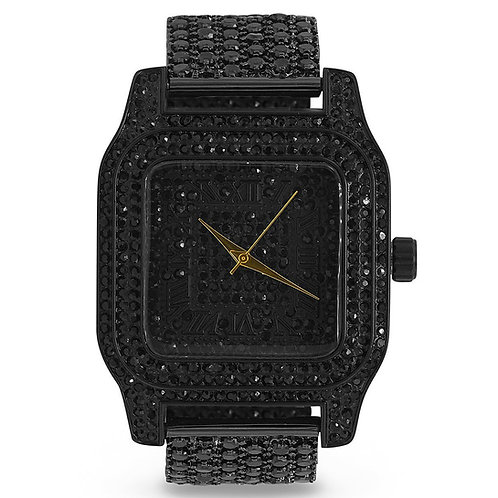 Luxury Ice Black CZ Custom Metal Band Watch