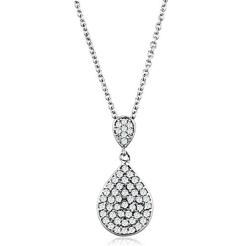 3W720 Rhodium Brass Necklace with AAA Grade CZ in