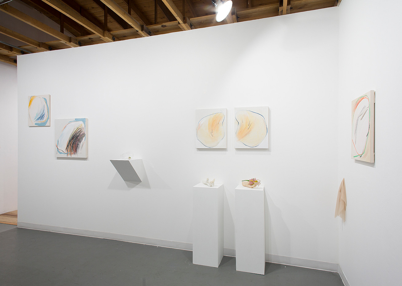 A Breath Before ​ Kaitlyn Tucek & Lindsay Smith Gustave ​ ALTO GALLERY Denver, Colorado  ​ December 2018 – January 2019 ​ A Breath Before​ combines the works of Kaitlyn Tucek and Lindsay Smith Gustave. The first two-person exhibition between Tucek and Gustave, ​A Breath Before​ raises questions of instinct, patience, and motherhood. This exhibition brings together each artists' independent reaction to their experience as mothers, one equally stoic and dynamic, the other delicate and composed, but both vulnerable in their contemplation of the space that exists between the body and that from which it grows. ​ Tucek follows instinct and records the invisible momentum of a body in space. An exercise in subtlety, she records the exquisite pain and pleasure of motherhood, understanding the ebb-and-flow between both. Representations of a monolithic entity withstands outside forces, and protects, while still understanding the limits of control. An object, suspended in time, taking a breath in contemplation of the pace and multitudes of life. Serving as a pillar or monument to life, overlooking the circumstances gained by the course of events and the resultant multitudes of an individual identity. ​ For Gustave, this body of work​ e​ xplores inheritance, vulnerability, and emotional response. These vessels contain human moments: processing familial pathology and the generational self. Objects are held within specific spaces but grow to fill them. The space between object and container provides a moment to focus on the interstices connecting our physical action and our memory. These works lay bare expectations and psychoses, embrace the transparency to invite shared experience, and although intentionally contained, still flourish.   A Breath Before​ offers a pause for inhalation, the anticipation before the gentle nudge into entropy when the breath leaves the body and becomes something else of its own.