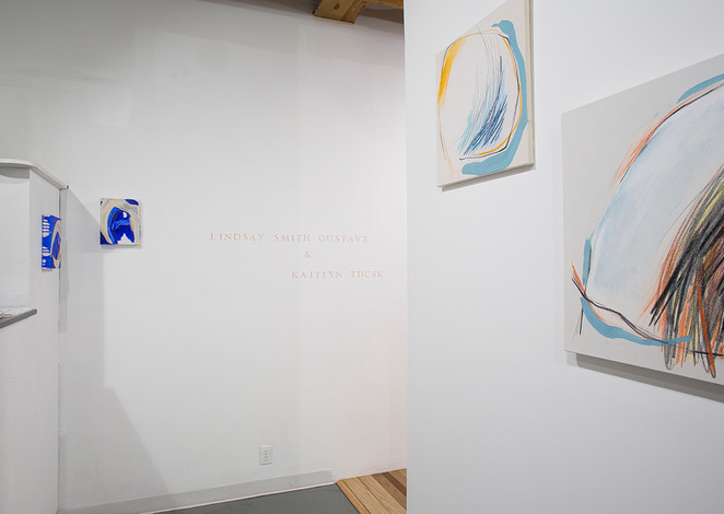 A Breath Before  Kaitlyn Tucek & Lindsay Smith Gustave  ALTO GALLERY Denver, Colorado   December 2018 – January 2019  A Breath Before combines the works of Kaitlyn Tucek and Lindsay Smith Gustave. The first two-person exhibition between Tucek and Gustave, A Breath Before raises questions of instinct, patience, and motherhood. This exhibition brings together each artists' independent reaction to their experience as mothers, one equally stoic and dynamic, the other delicate and composed, but both vulnerable in their contemplation of the space that exists between the body and that from which it grows.  Tucek follows instinct and records the invisible momentum of a body in space. An exercise in subtlety, she records the exquisite pain and pleasure of motherhood, understanding the ebb-and-flow between both. Representations of a monolithic entity withstands outside forces, and protects, while still understanding the limits of control. An object, suspended in time, taking a breath in contemplation of the pace and multitudes of life. Serving as a pillar or monument to life, overlooking the circumstances gained by the course of events and the resultant multitudes of an individual identity.  For Gustave, this body of work e xplores inheritance, vulnerability, and emotional response. These vessels contain human moments: processing familial pathology and the generational self. Objects are held within specific spaces but grow to fill them. The space between object and container provides a moment to focus on the interstices connecting our physical action and our memory. These works lay bare expectations and psychoses, embrace the transparency to invite shared experience, and although intentionally contained, still flourish.   A Breath Before offers a pause for inhalation, the anticipation before the gentle nudge into entropy when the breath leaves the body and becomes something else of its own.