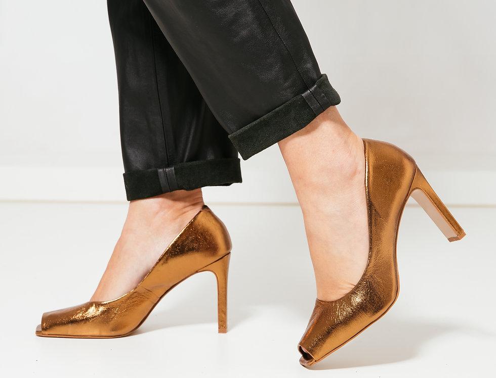 Peep Toe Alto Bronze