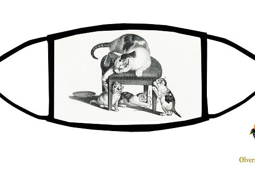 Kitties Playing Adjustable Face Mask/ 3-ply/ Reusable/ Washable/ Handmade in USA