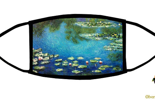 Water Lilies (Monet) Adjustable Face Mask/ Washable/ Reusable/ Handmade in US