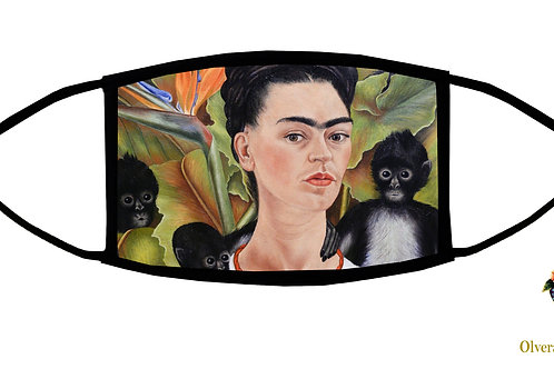 Frida With Monkeys Adjustable Face Mask / 3-ply/ Reusable/ Handmade in USA