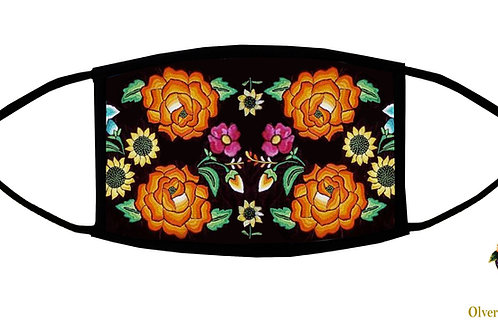 Mexican Flowers-Orange Adjustable Face Mask/ Reusable/ Soft/ Handmade in USA