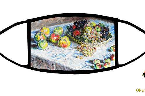 Apples and Grapes (Monet) Adjustable Face Mask/ Washable/ Handmade in USA