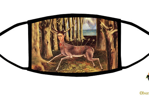 The Wounded Deer (Frida) Adjustable Face Mask/ 3-ply/ Washable/ Soft/ Made in US