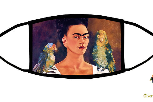 Frida with Parrots Adjustable Face Mask// 3-ply/ Reusable/ Soft/ Handmade in USA