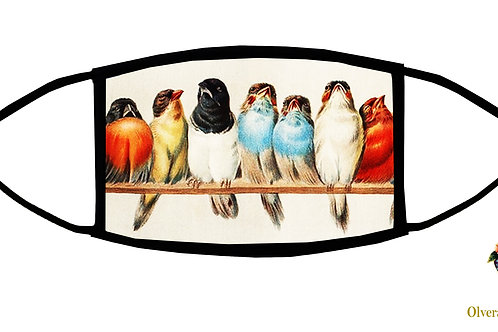Birds on a Perch Adjustable Face Mask/ Reusable/ Soft/ Handmade in USA
