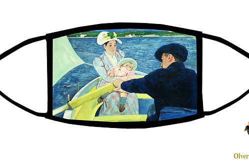 The Boating Party (Cassatt) Adjustable Face Mask/ 3-ply/ Homemade in USA