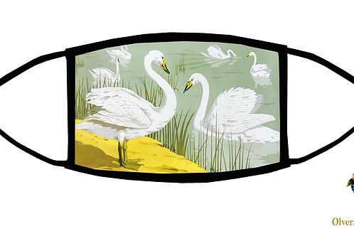 Wild Swans Adjustable Face Mask/ Reusable/ Soft/ Handmade in USA