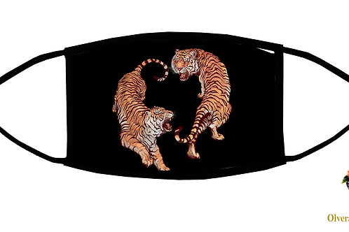 """Roaring Tigers (""""Ying-Yang"""") Adjustable Face Mask / 3-ply/ Reusable/Made in USA"""
