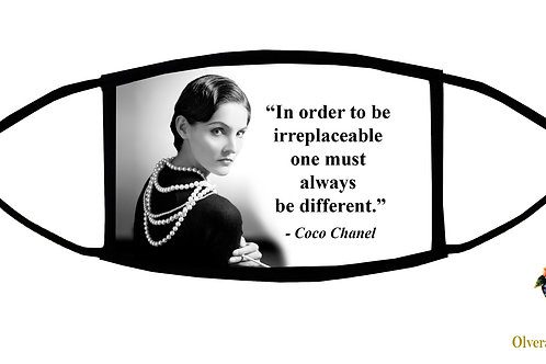 """In order to be Irreplaceable... Coco Chanel quote Adjustable Face Mask/3ply/USA"