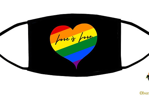 Love is Love Adjustable Face Mask / 3-ply/ Reusable/ Soft/ Handmade in USA