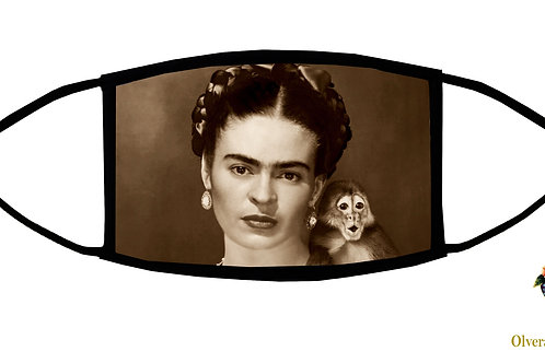 Frida With Monkey Adjustable Face Mask / 3-ply/ Reusable/ Handmade in USA