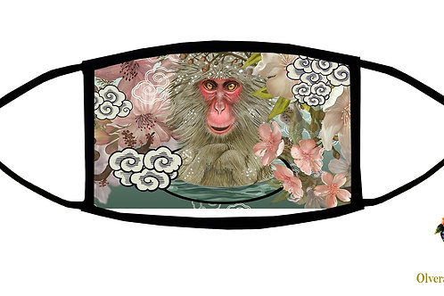 Japanese Macaques (Monkey) Adjustable Face Mask/ 3-ply/ Reusable/Handmade in USA