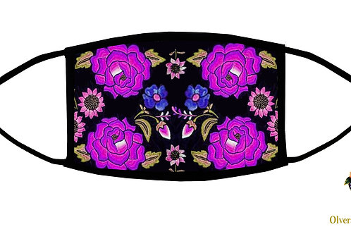 Mexican Flowers-Purple Adjustable Face Mask/ Reusable/ Soft/ Made in USA