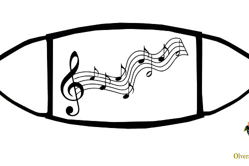 Musical Notes Adjustable Face Mask / 3-ply/ Reusable/ Soft/ Handmade in USA