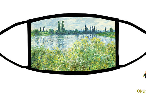 Banks of the Seine, Vetheuil (Monet) Adjustable Face Mask/ Washable/ Made in USA