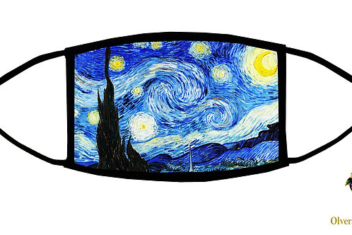 Starry Night (Van Gogh) Adjustable Face Mask / 3-ply/ Reusable/ Made in USA