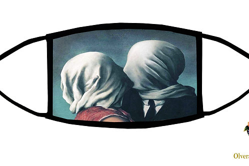 The Lovers II (Magritte) Adjustable Face Mask/ 3-ply/ Washable/ Handmade in USA