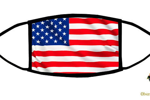 United States Flag Adjustable Face Mask / 3-ply/ Reusable/ Soft/ Handmade in USA