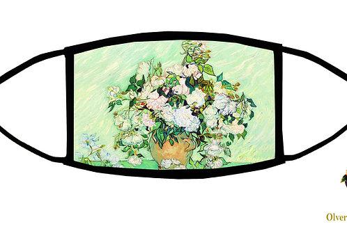 Roses (Van Gogh) Adjustable Face Mask/ Reusable/ Soft/ Handmade in USA