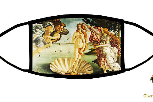 The Birth Of Venus (Botticelli) Adjustable Face Mask / 3-ply/ Reusable/  US made