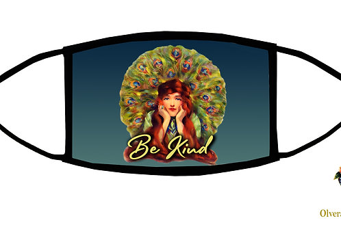 Be Kind (Peacock Woman)  Adjustable Face Mask/ 3-ply/ Washable/ Handmade in US