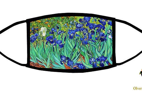 Irises (Van Gogh) Adjustable Face Mask/3-ply/ Reusable/ Soft/ Handmade in USA