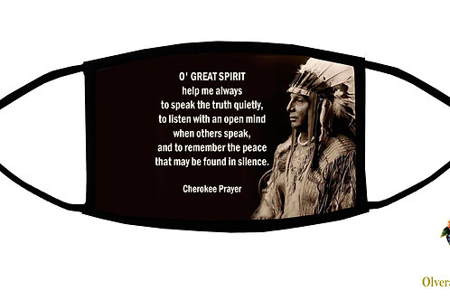 "Cherokee Prayer (""O' Great Spirit"") Adjustable Face Mask/3-ply/Handmade in USA"