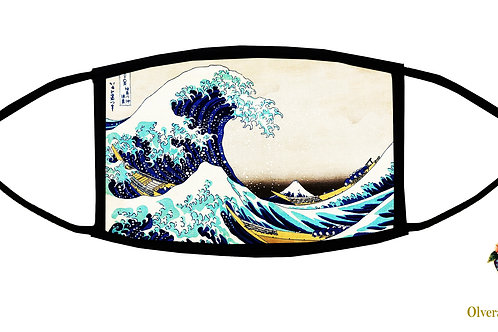 The Great Wave... (Hokusai) Adjustable Face Mask / 3-ply/ Reusable/ Made in USA