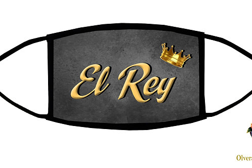 "El Rey (grey/""The King"") Adjustable Face Mask/3-ply/Reusable/ Homemade in USA"