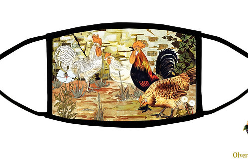 Roosters Adjustable Face Mask/ 3-ply/ Reusable/ Handmade in USA