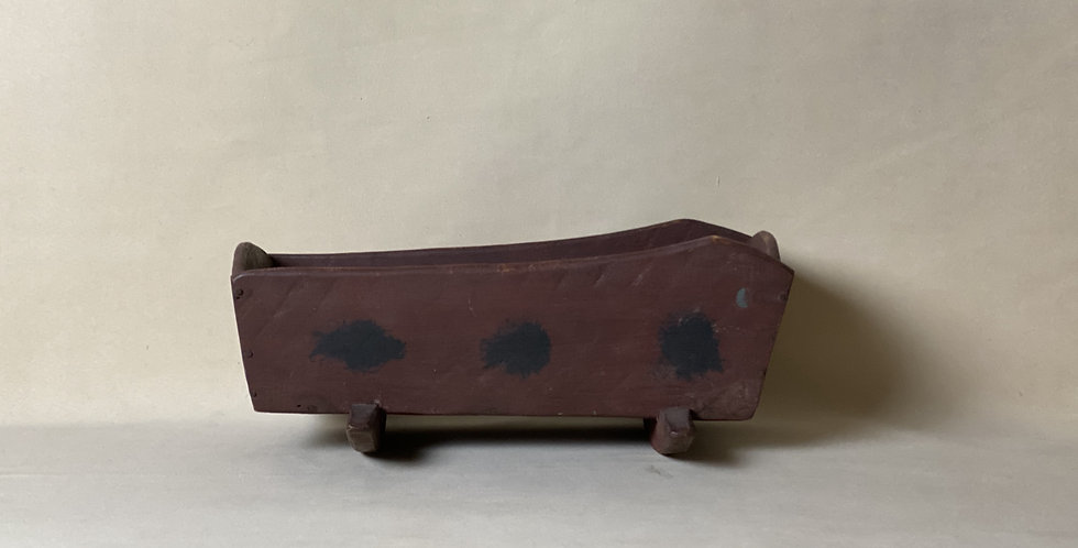 Early Primitive 19th Century Doll Cradle in Red