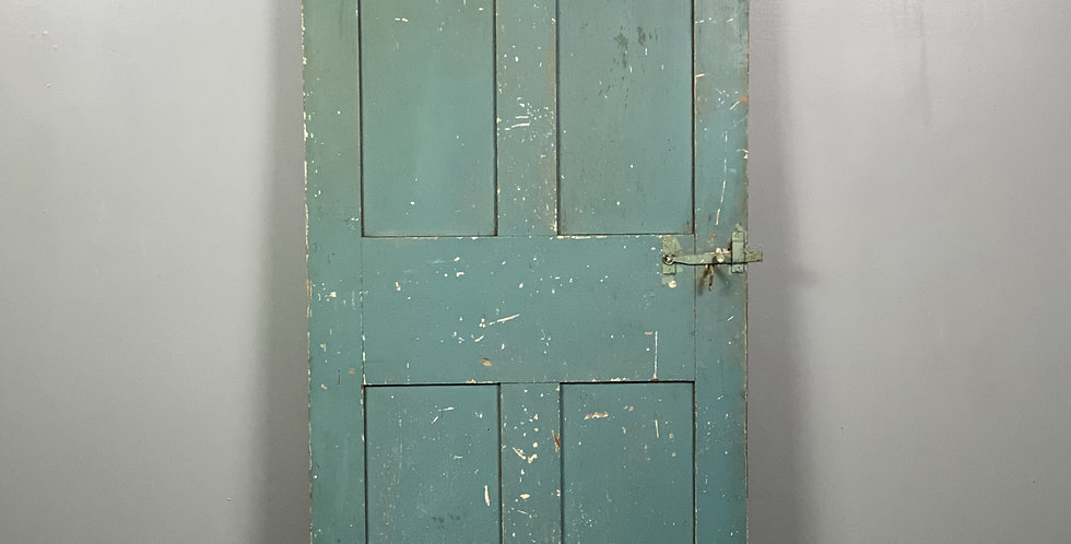Early 1800's Vermont Farm House Door in Blue and Green Paint