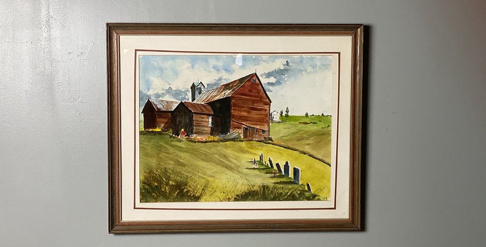 Well Executed Watercolor of a Vermont Farm By Ruth Newquist