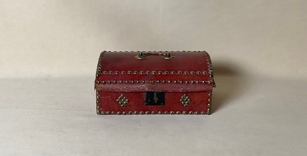 Antique Red Leather Mini Document Box