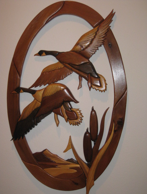 'Canada geese' intarsia