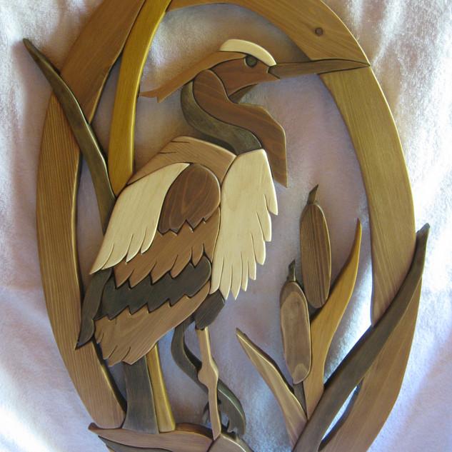'Great blue heron' intarsia