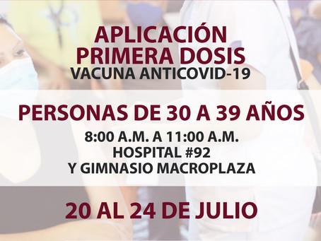 DEFINEN EL PROTOCOLO DE VACUNACIÓN PARA EL RANGO DE 18 A 39 AÑOS,DURANTE EL PERIODO DEL 20 AL 24