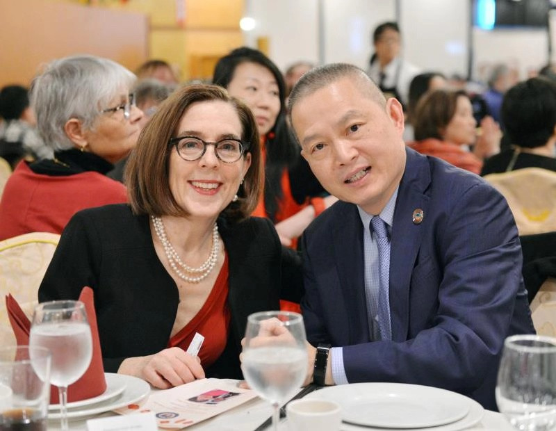 Governor Kate Brown and OCC President Jin Lan.