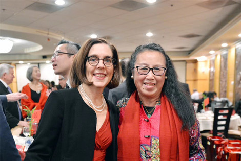 Governor Kate Brown and OCC Board member Meiru Liu.