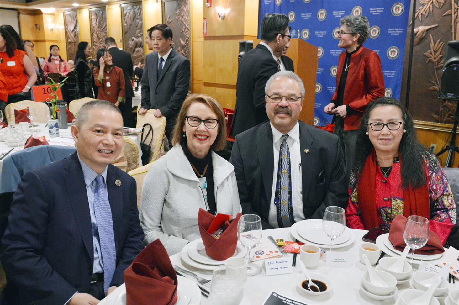 Jin Lan, State Attorney General Ellen Rosenblum, State Senator Lew Frederick and Meiru Liu