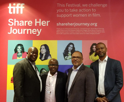 Phil Molefe (Chairperson, NFVF), Nyameko Goso (Consul General, South Africa), Tshego Ditshego and Alfons Adetuyi (ICF) at TIFF'19 celebrating ICF's next South Africa/Canada co-production DREAMS OF THE MOON - A coming of age adventure about a young girl who dreams of becoming an astronaut - #ShareHerJourney