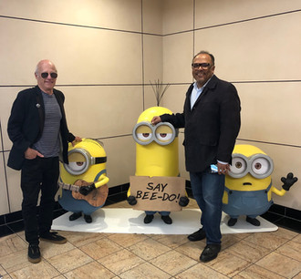 Dreams of the Moon Executive Producer Gary Shapiro and director Alfons Adetuyi at Universal Studios with some suspicious new recruits.