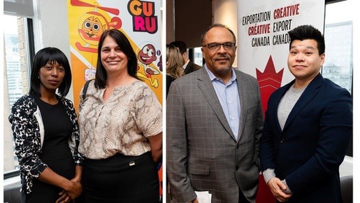 Orla Garriques, Cora Tonno, Alfons Adetuyi and Sidney Chiu at Creative Export Canada Launch