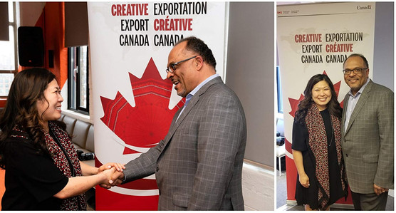 Alfons Adetuyi, Inner City Films and The Honorable Mary Ng, Minister of Small Business and Export Promotion at Creative Export Canada Press Conference