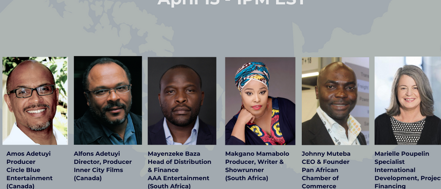 Reelworld Co-Pro Series: Demystifiyng Access For racialiy Diverse Producers in Sout Africa & Canada (Apr 15, 2021)  Director and Producer of Inner City FIlms, Alfons Adetuyi and brother Amos Adetuyi, Producer of Circle Blue Entertainment, will be a panellist for the Reelworld Film Festival Co-Production Series webinar spotlighting South Africa on April 15th at 1pm EST. Moderated by Programming Manager, Barbara Mamabolo the panel will be made up of experts on the topic of co-production development.  Alfons and Amos will also be joined by Marielle Poupelin, Specialist International Development & Project Financing at Telefilm, South African partners Mayenzeke Baza, Head of Distribution & Finance at AAA Entertainment, Makgano Mamabolo Producer, Writer & Showrunner, and Johnny Mutebe CEO & Founder of Pan African Chamber of Commerce.  Click link below to stream.