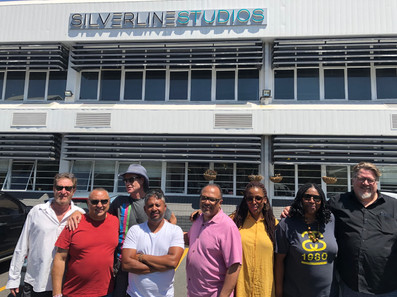 Dreams of the Moon on location in South Africa - Alfons Adetuyi and Michael Auret with DOTM team at Silverline Studios